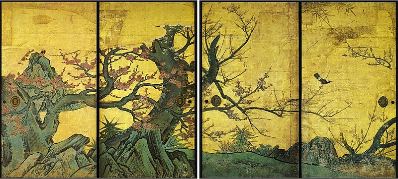 File:Prune sur paravent par Kanō Sanraku.jpg