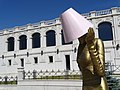 Public Sculpture with Lampshade and Facade Backdrop - Stepanakert - Nagorno-Karabakh (18467974303).jpg