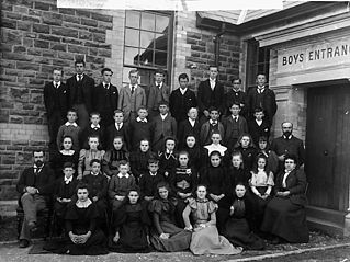 Pupils and teachers of Whitland County School