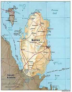 Outline of Qatar - An enlargeable relief map of Qatar
