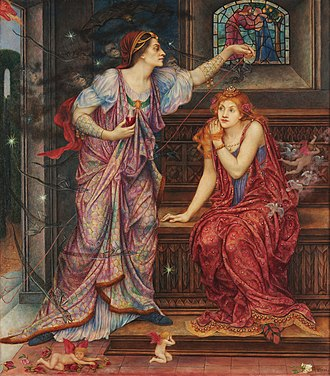 Rosamund Clifford - Eleanor prepares to poison Rosamund, a Pre-Raphaelite painting by Evelyn De Morgan, illustrating one of the later myths about her