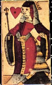 Regina di cuori di un mazzo di Claude Valentin (metà del XVII secolo). Si noti che la regina, personificazione di Caterina de' Medici nelle intenzioni dell'autore, impugna lo scettro anziché stringere un ventaglio. Questo particolare sottolinea il disprezzo dei francesi dell'epoca per Enrico III (raffigurato come re di cuori con il ventaglio). E sicuramente anche a causa delle disposizioni decretate da questo re a sfavore dei produttori di carte da gioco.[9]