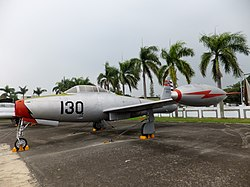 ROCAF F-84 130 in Military Airplanes Display Area 20111015.jpg
