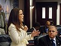 Rachel Burgin offers support as the House brought it's version of the state budget to the floor.jpg
