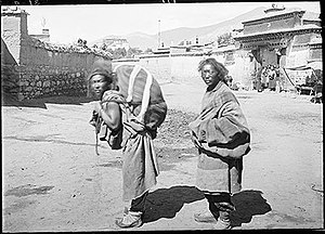 Sky burial - Corpse being carried from Lhasa for sky burial about 1920