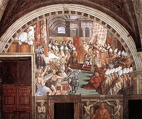 The Coronation of Charlemagne, by assistants of Raphael , circa 1516-1517.