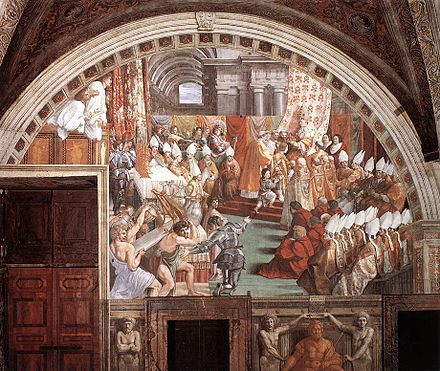 The Coronation of Charlemagne, by assistants of Raphael, c. 1516-1517 Raphael Charlemagne.jpg
