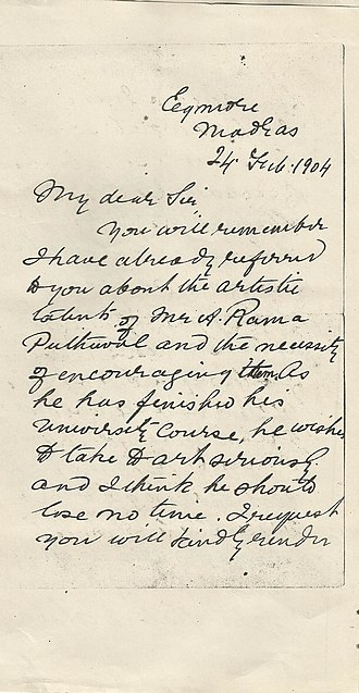 A. R. Poduval - Ravivarma's letter to someone recommending Poduval