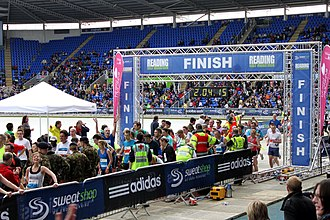 Reading Half Marathon - Finish of the half marathon in 2010 at the Madejski Stadium