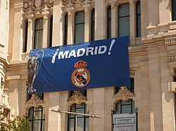 A banner containing the flag and the name of Real Madrid.