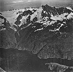 Redstone Glacier, valley glacier whose terminus is turning into a rock glacier, and hanging glaciers with icefall, September 4 (GLACIERS 6786).jpg