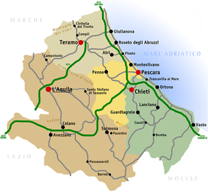 Montepulciano d'Abruzzo - Map of the Abruzzo region and its four provinces where Montepulciano d'Abruzzo is produced.