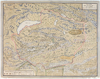 Dzungar Khanate - A map of the Dzungar Khanate, by a Swedish officer in captivity there in 1716-1733, which include the region known today as Zhetysu