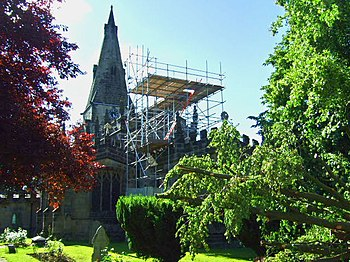 English: Repairs to the roof Repairs to Horsle...