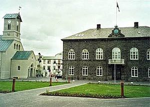 Iceland's parliament House, at Austurvöllur in Reykjavík, built in 1880–1881. Home of one of the oldest still-acting parliaments in the world.