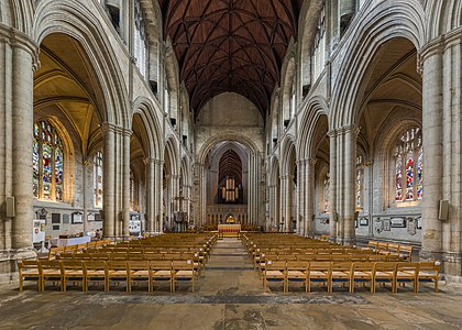 The nave of Ripon Cathedral looking east from the entrance in North Yorkshire, England.