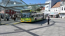 Articulated bus of the public transport company of the Schweinfurt public utility at the Roßmarkt central bus station