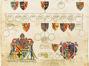 Robert Glover (officer of arms) - Pedigree of the De Euro family, of Northumberland, barons of Warkworth and Clavering, by Robert Glover.