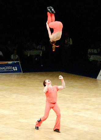 Rock and Roll (dance) - The double somersault, one of the most demanding acrobatic moves (Daniela Bechtold and Bernd Diel, World Games 2005 in Oberhausen, Germany)