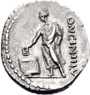Ballot laws of the Roman Republic - A 63 BCE coin depicting a Roman casting a ballot