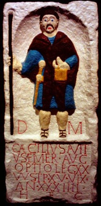Roman military tombstones - A copy of a Roman tombstone found in Chester (Deva Victrix) depicting Caecilius Avitus, an optio in the Legio XX Valeria Victrix