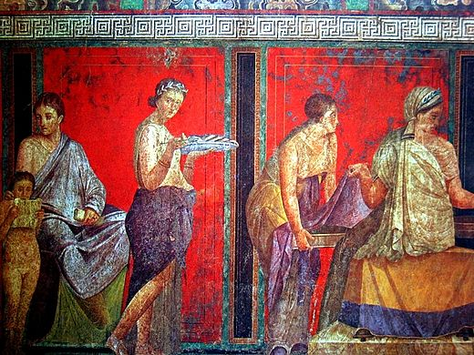 Women from the wall painting at the Villa of the Mysteries, Pompeii Roman fresco Villa dei Misteri Pompeii 004.jpg