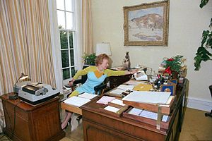 "Clerical error - Rose Mary Woods demonstrating the ""Rose Mary stretch"" by which she claimed that she accidentally erased 18½ minutes of the ""Watergate tapes"" during a phone call."