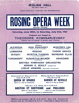 Vladimir Rosing - Rosing Opera Week - Aeolian Hall, London - June 1921