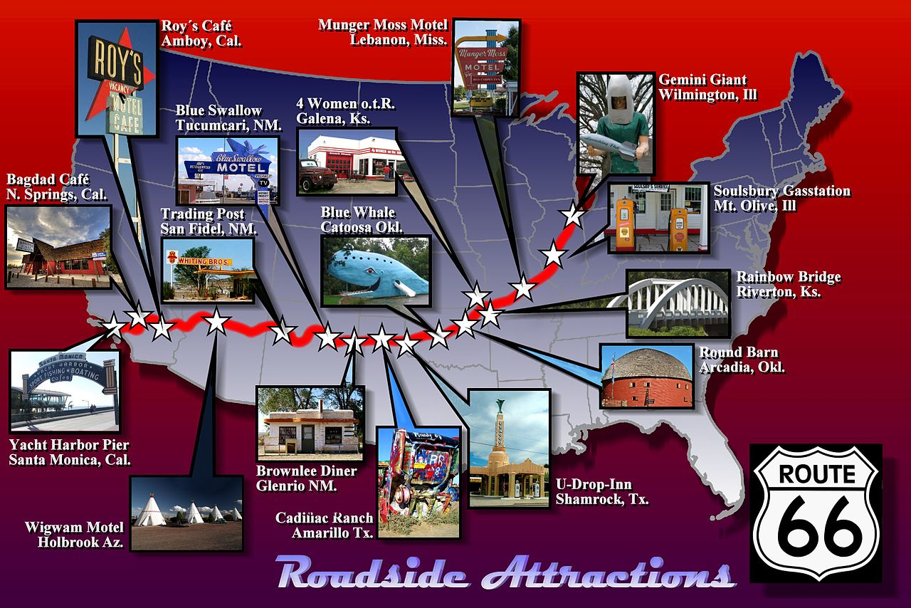 route 66 in california map with File Route 66 Attractions Map on Route66 besides File route 66 attractions map as well Historic Route 66 Cartoon Map Kevin Middleton additionally Radiator Springs 379778668 also New York.