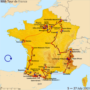 2003 Tour de France - Route of the 2003 Tour de France