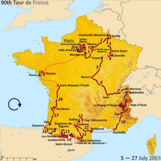 2003 Tour de France - Route of the 2003 Tour de France