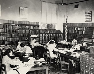 University of Houston Libraries - The library at the Roy G. Cullen Building in 1945, one of the main library's early homes