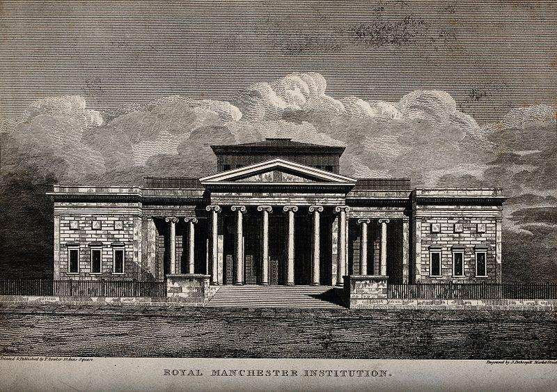 File:Royal Institution, Manchester, England. Line engraving by J. Wellcome V0013921.jpg