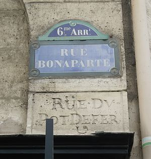 Rue Bonaparte - Street plaque also showing former name