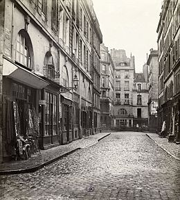 Rue Childebert, de la rue d'Erfurth. Paris VIe. Vers 1867, photographie de Charles Marville.