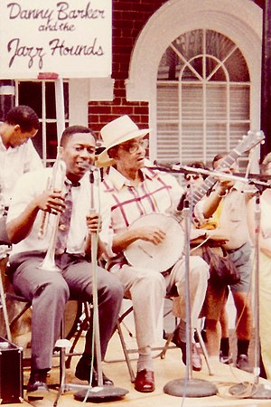 Kermit Ruffins - Kermit Ruffins (left) with the late Danny Barker at French Quarter Festival