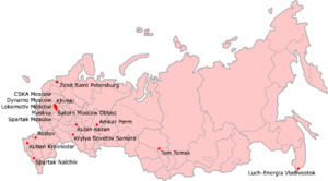 2007 Russian Premier League - Locations of the teams that participated in the 2007 Russian Premier League