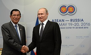 Hun Sen - Hun Sen with the President of Russia Vladimir Putin on 19 May 2016