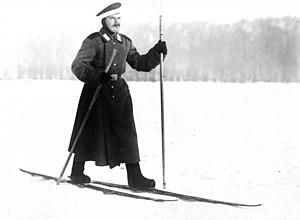 Valenki - Russian soldier on skis wearing valenki boots