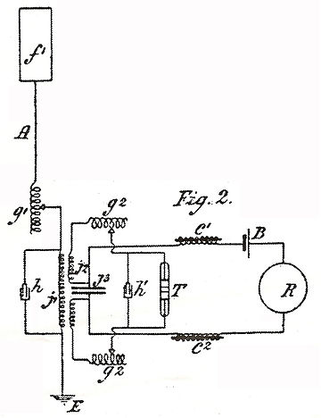"Marconi's inductively coupled coherer receiver from his controversial April 1900 ""four circuit"" patent no. 7,777. Rx marconi.jpg"