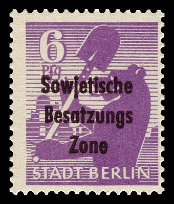 "German stamp inscribed with ""Soviet Occupation Zone"", 1948 SBZ 1948 201A Berliner Bar.jpg"