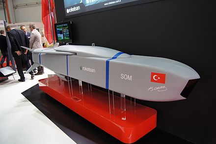 SOM cruise missile developed by TUBITAK SAGE and Roketsan for the Turkish Air Force SOM cruise missile mockup on MSPO 2014.jpeg