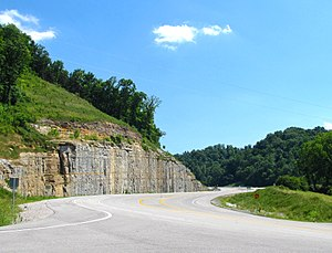 Tennessee State Route 52 - Road cut along State Route 52 in Celina, Tennessee.