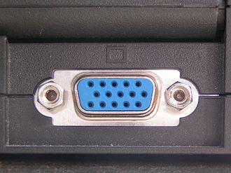 D-subminiature - Female DE-15 connector (Socket), used for VGA, SVGA and XGA ports