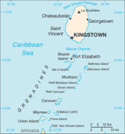 Map showing the location of Mustique within the Grenadines