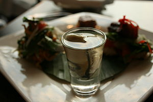 Shooter (drink) - A sake oyster shooter