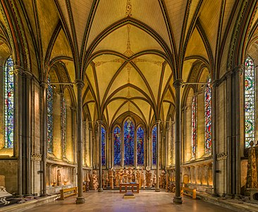 The Trinity Chapel (Lady Chapel) of Salisbury Cathedral in Wiltshire, England