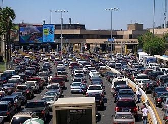 San Ysidro, San Diego - Traffic in Tijuana, Mexico waiting at the San Ysidro port of entry into the United States.