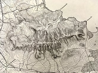 San Bruno Mountain - Topographic rendering done in 1869 showing trees in the ravines