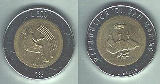 Sammarinese lira - Image: San Marino 500 lire(2)